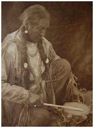 native american poyote drummer